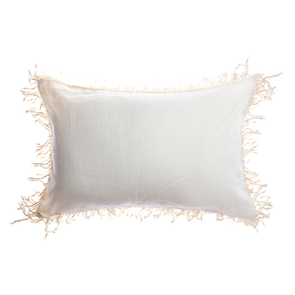 Knotted Fringes Linen Lumbar Pillow
