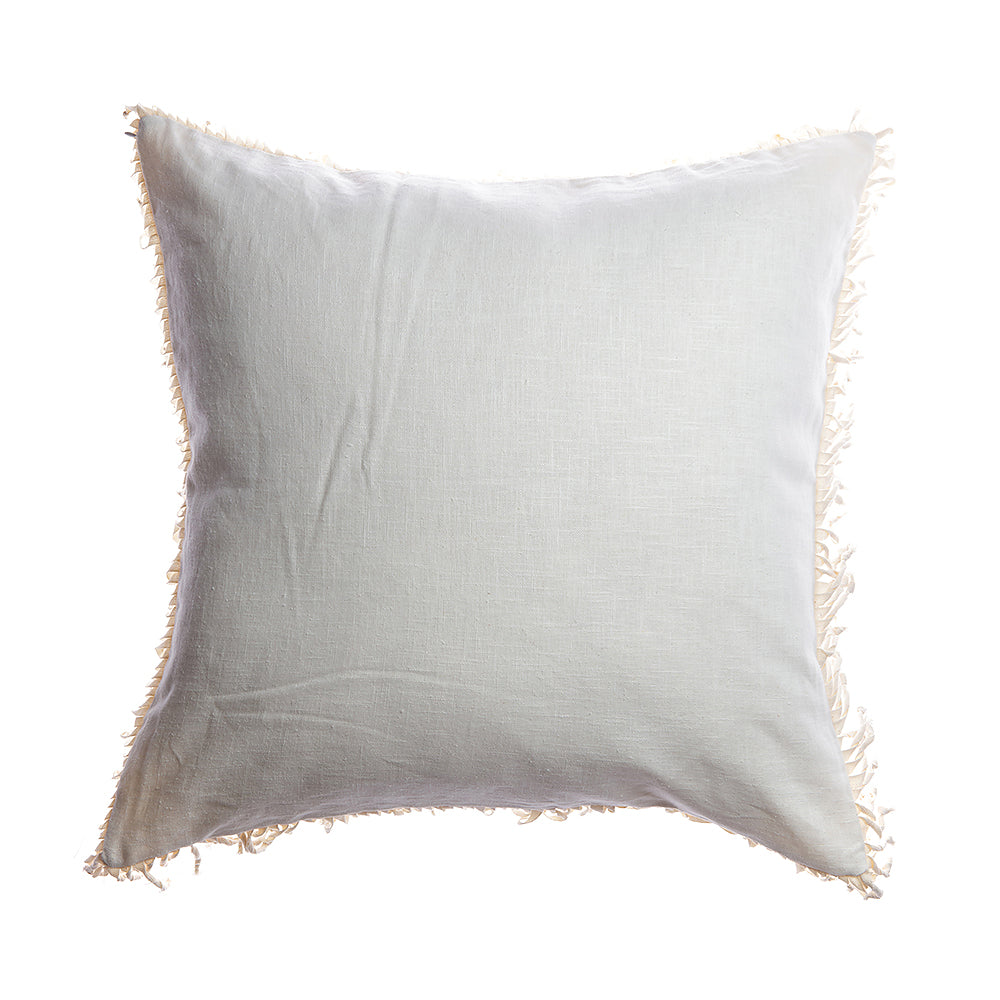 Knotted Fringes Linen Square Pillow