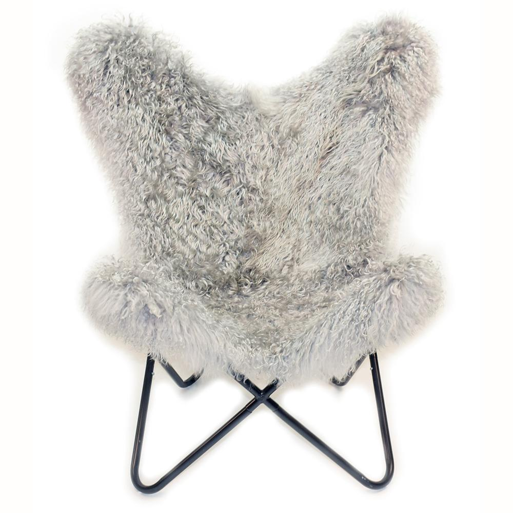 LIGHT GREY - Curly Goatskin Butterfly Chair