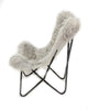LIGHT GREY - Curly Goatskin Butterfly Chair - Homelosophy