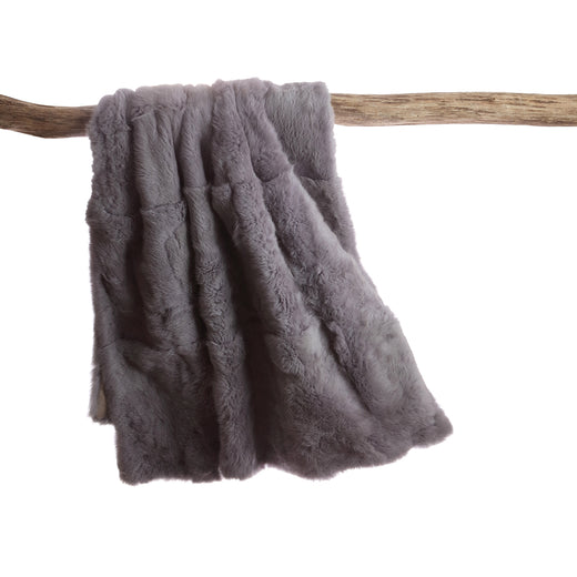 Rabbit Skin Throw - Light Grey