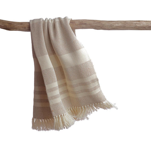 Melange Ivory Wool Throw Blanket