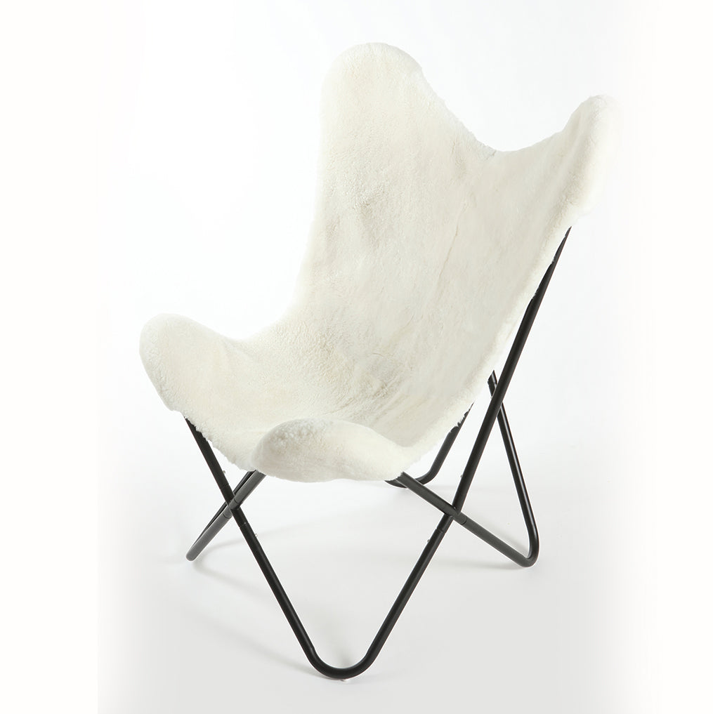 NATURAL IVORY - Shearling Butterfly Chair