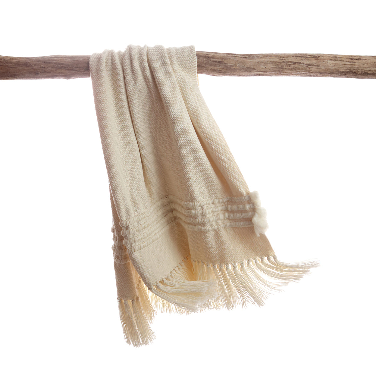 Natural Ivory Striped Throw Blanket