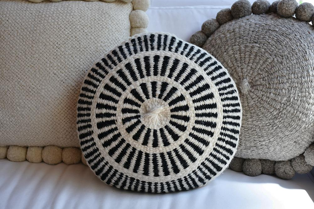 Prisma Black Round Wool Pillow