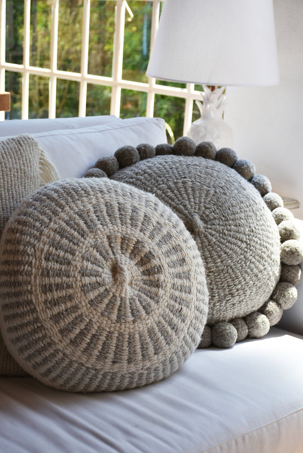 Pom Wool Round Pillow - Natural Grey