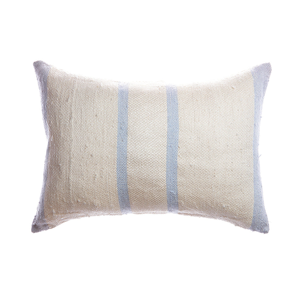 Pale Blue Stripes Raw Silk Lumbar Pillow