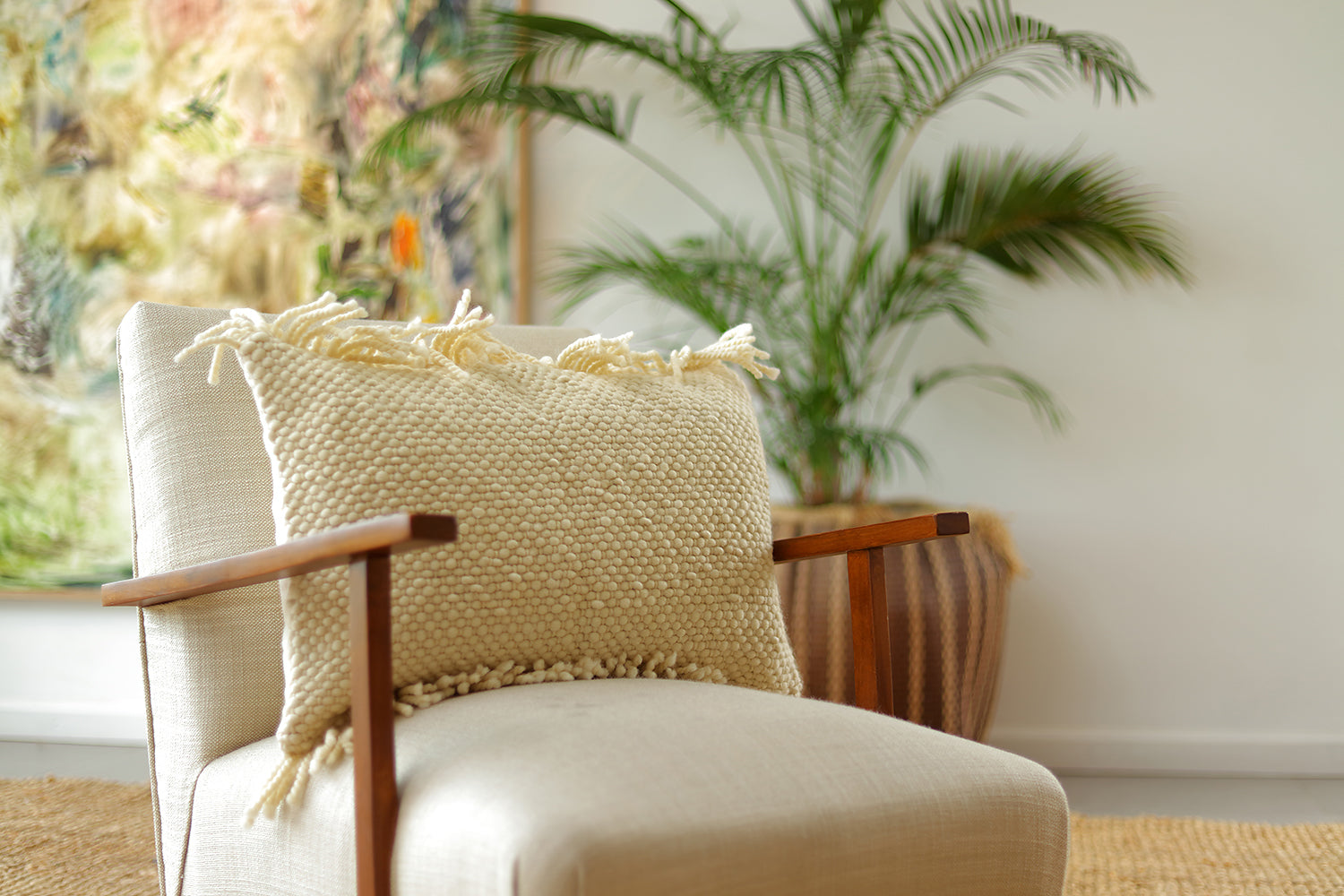 Penachos Fringed Wool Lumbar Pillow