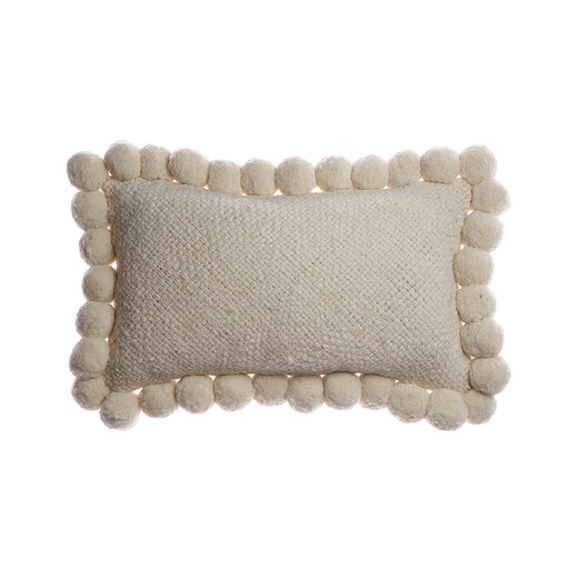 Pom Wool Lumbar Pillow - Ivory