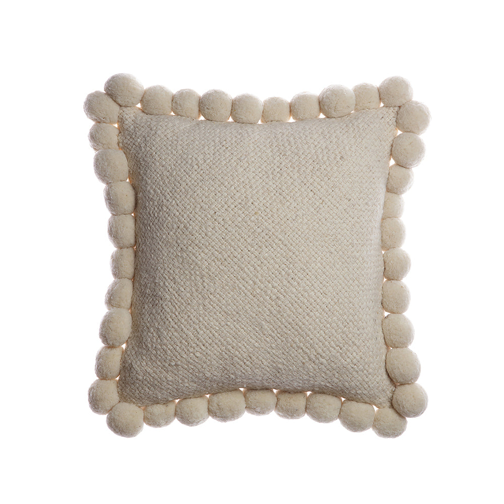 Pom Wool Square Pillow - Ivory