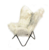 RAW IVORY - Long Hair Goatskin Lounge Chair