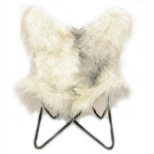 RAW IVORY - Long Hair Goatskin Butterfly Chair