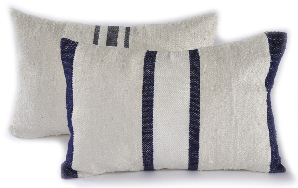 Indigo Stripes Raw Silk Square Pillow
