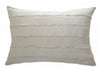 Natural Ivory Striped Raw Silk Pillow - Homelosophy