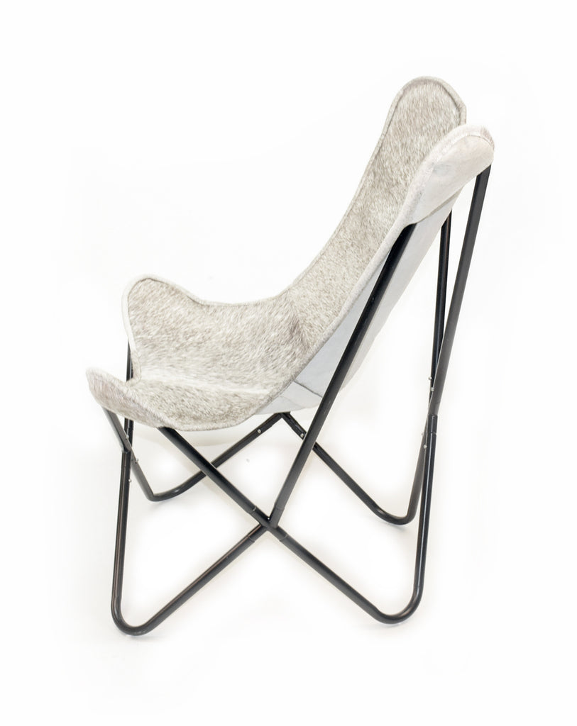 Cowhide butterfly chair - Stone Cowhide Butterfly Chair