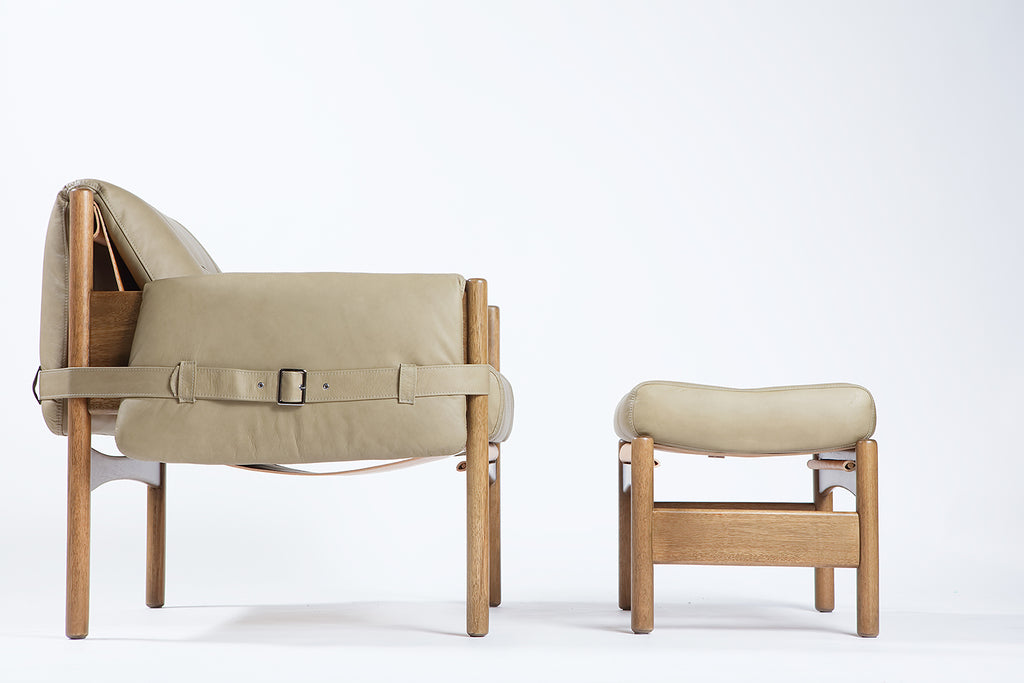 Safari Lounge Leather Chair + Ottoman - Sandstorm - Homelosophy