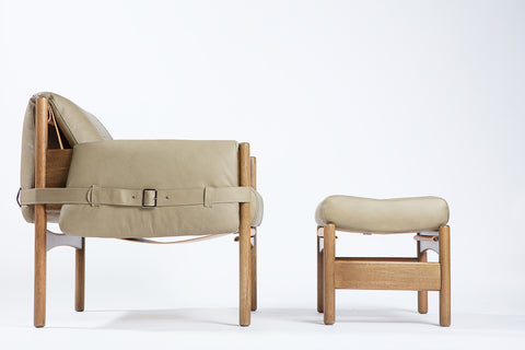 Safari Leather Lounge Chair + Ottoman - Sandstorm