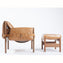 Safari Leather Lounge Chair + Ottoman - Sunset