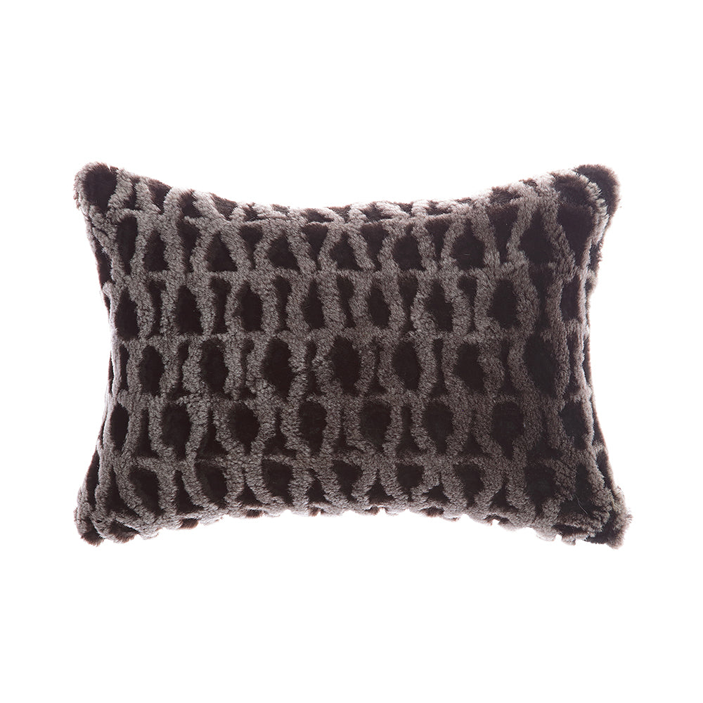 Shearling Amanda Charcoal Melange Lumbar Pillow