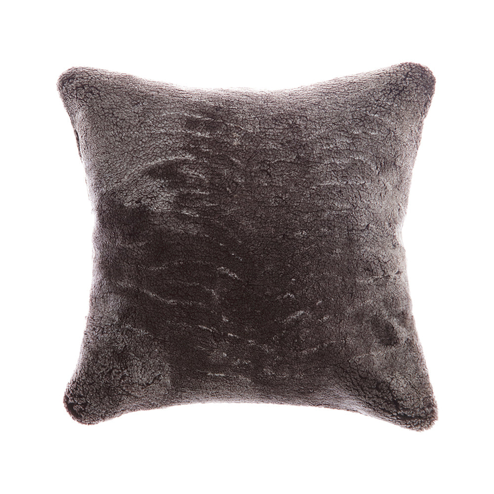 Shearling Charcoal  Square  Pillow