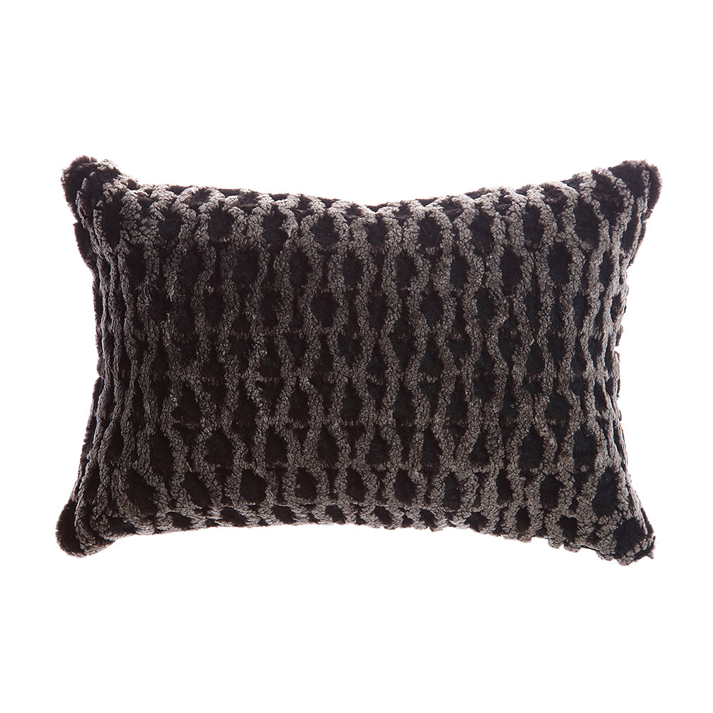 Shearling Curves Charcoal Melange Lumbar Pillow