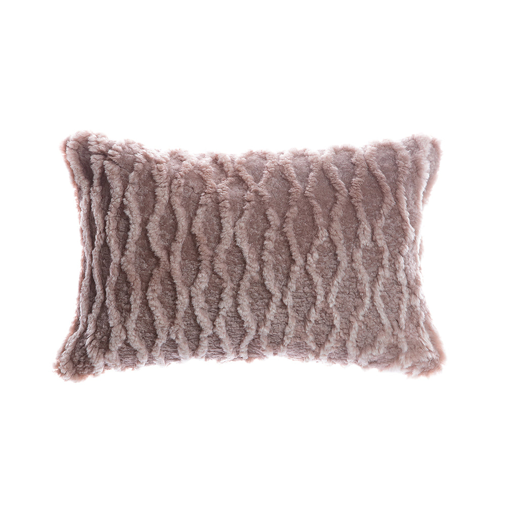 Shearling Curves Grey Melange Lumbar Pillow