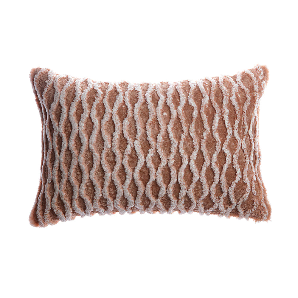 Shearling Curves Vintage Pink Lumbar Pillow