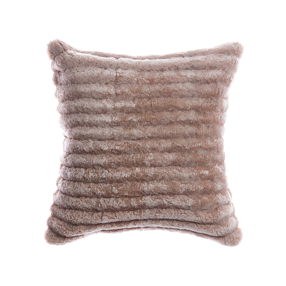 Shearling Stripes Grey Melange Square Pillow