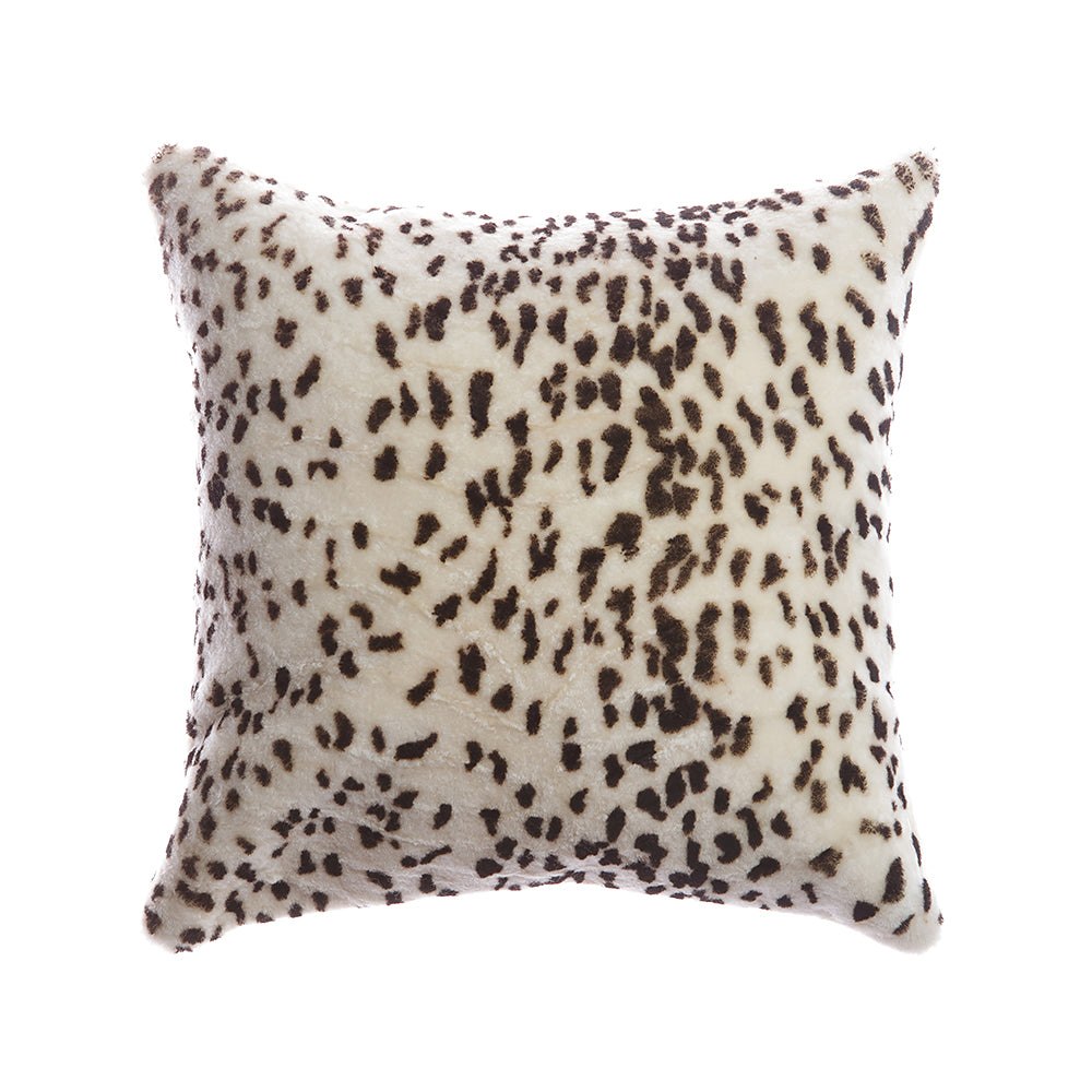 Shearling Leopard Square Pillow