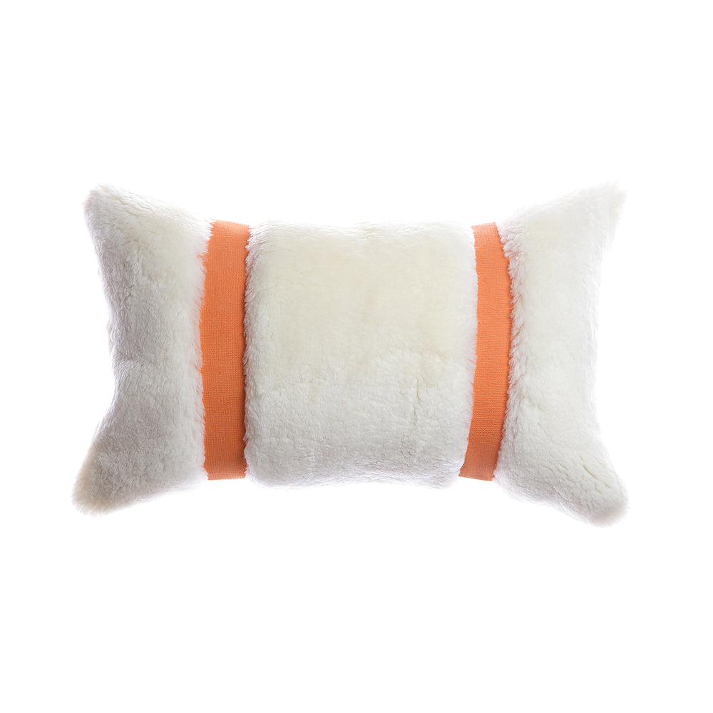 Shearling Orange Leather Lumbar Pillow