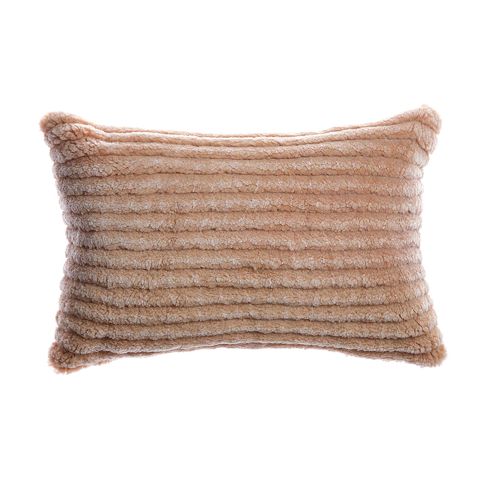 Shearling Stripes Salmon Lumbar Pillow