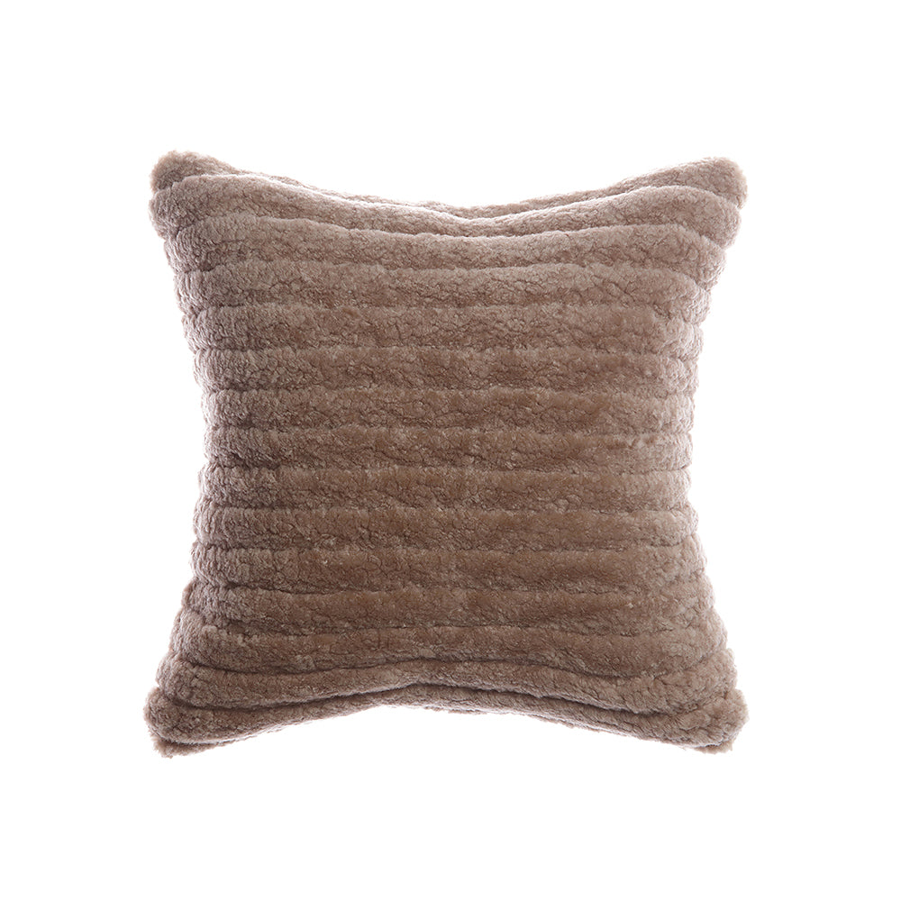 Shearling Stripes Taupe Lumbar Pillow