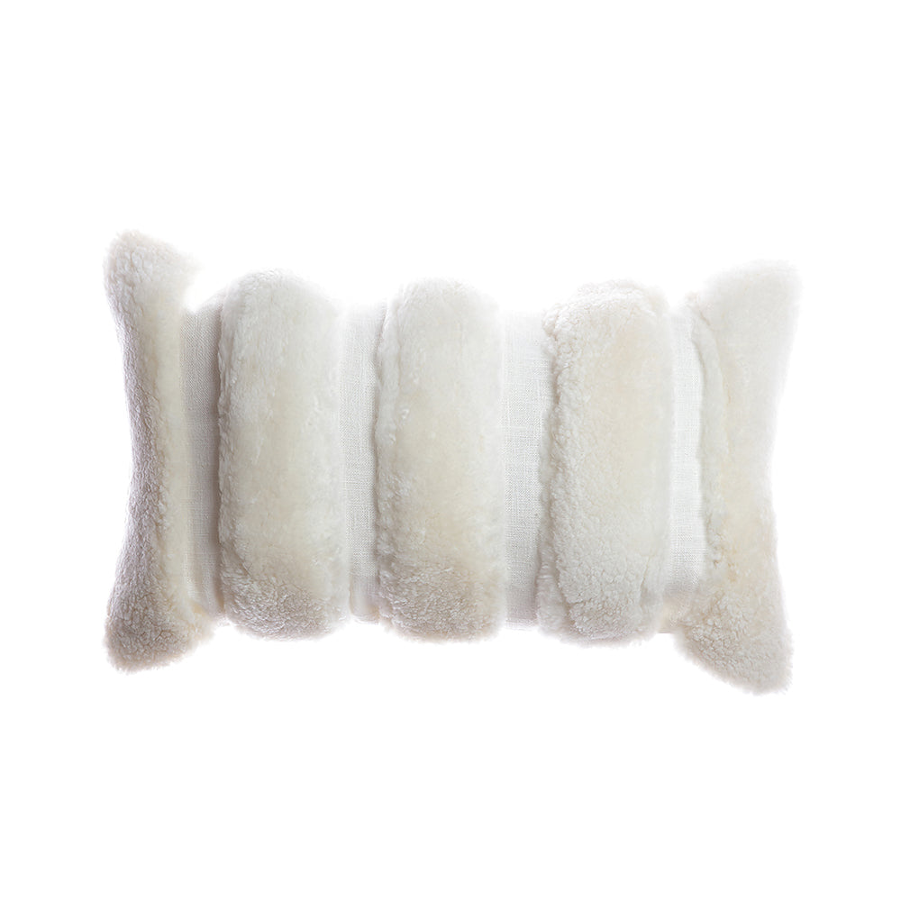 Shearling and Lino Stripes Lumbar Pillow