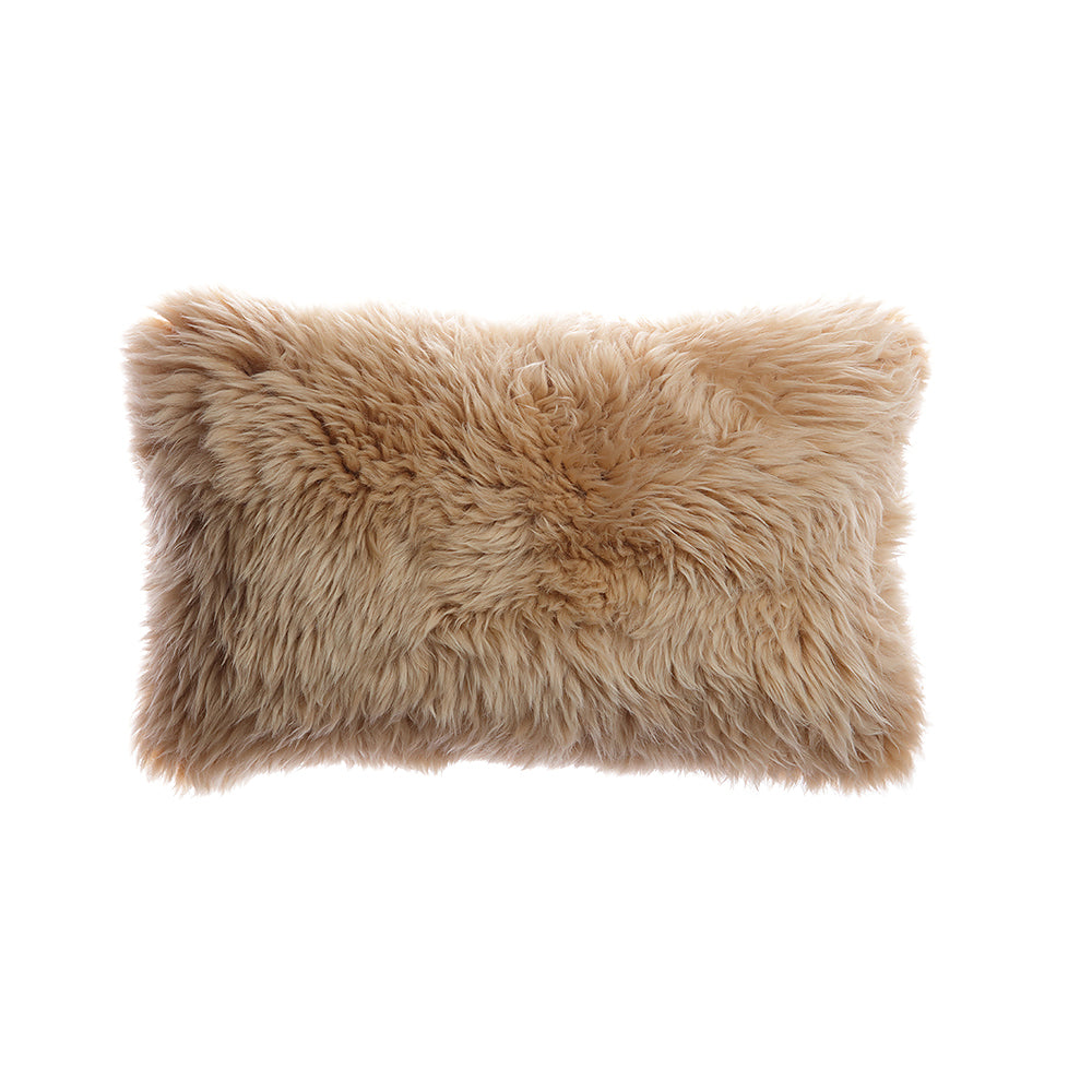 Camel Sheepskin Lumbar Pillow