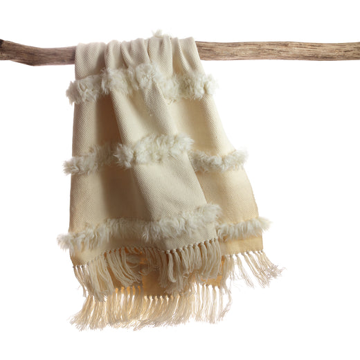 Sheepskin Throw Blanket - Simple Striped