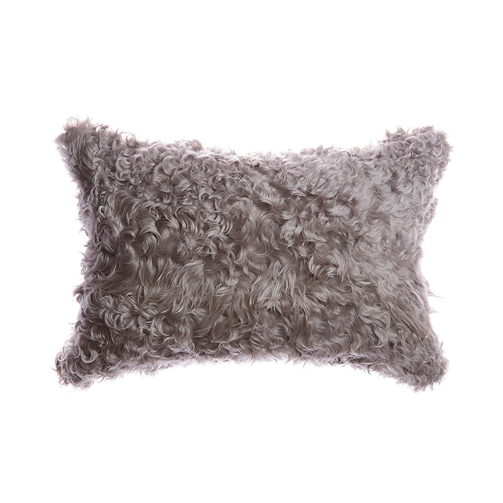 Silver Grey Natural Goat Skin Lumbar Pillow