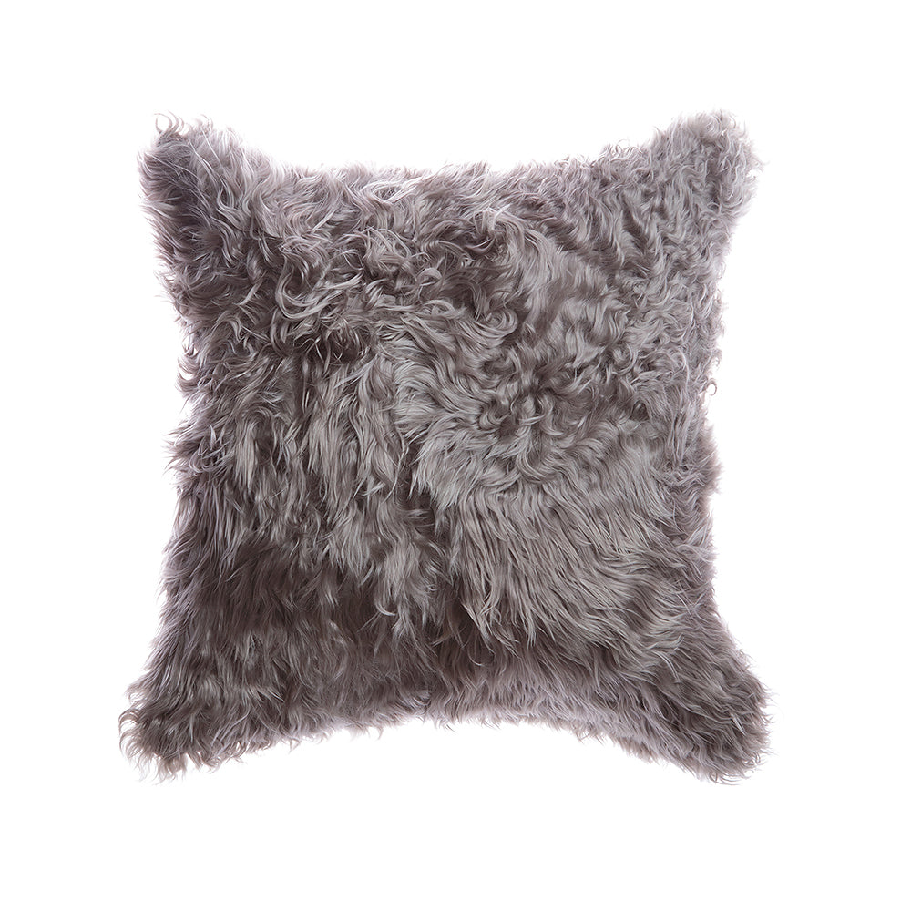 Silver Grey Natural Goat Skin Square Pillow