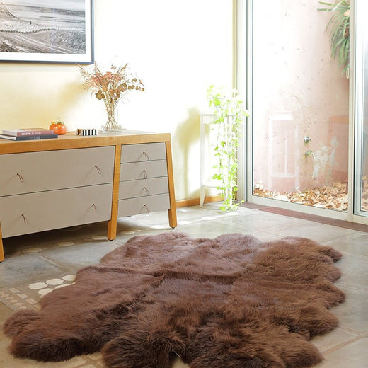 Six Piece Sheepskin Fur Rug - Brown Chocolate (4.7´ x  6.4´ )