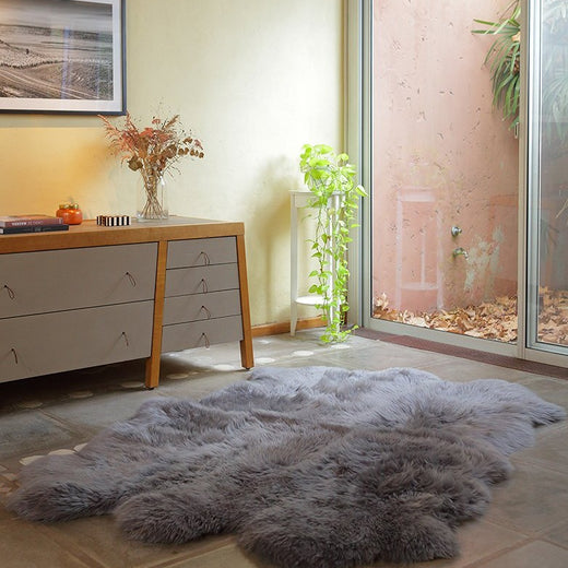 Six Piece Sheepskin Fur Rug - Gray Steel (4.7´ x  6.4´ )