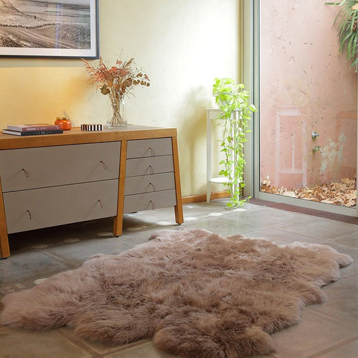 Six Piece Sheepskin Fur Rug - Grey Stone (4.7´ x  6.4´ )