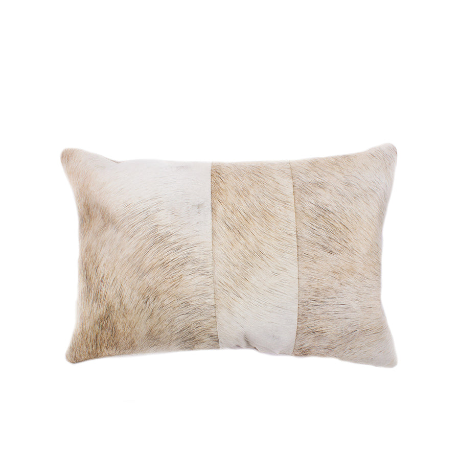 Tri Cowhide Lumbar Pillow - Soft Barley