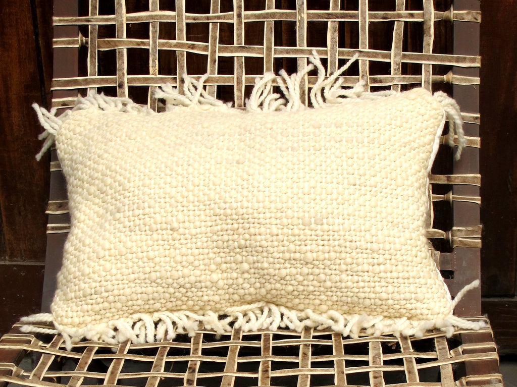 Fringes Woven Decorative Pillow - Hand Knited Wool 'Penachos' Pillow | Homelosophy