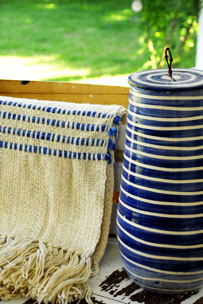Decorative Throw Blanket - Blue Stripes Throw | Homelosophy