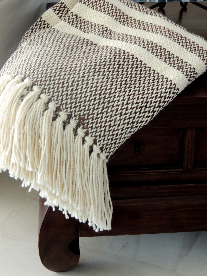 Choco Stripes Wool Throw
