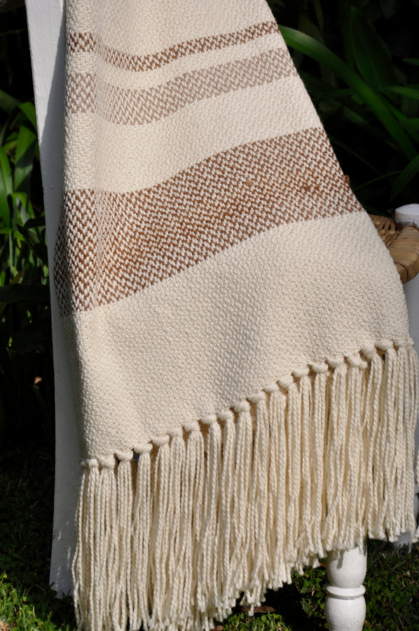 Wool Throw Blanket - Natural Moca Stripes | Homelosophy