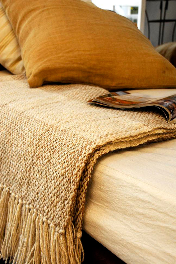 Lambswool Throw Blanket - Melange Ivory | Homelosophy