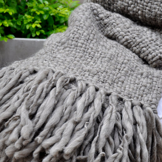 Chunky Knit Blanket - Flame Grey Wool Throw