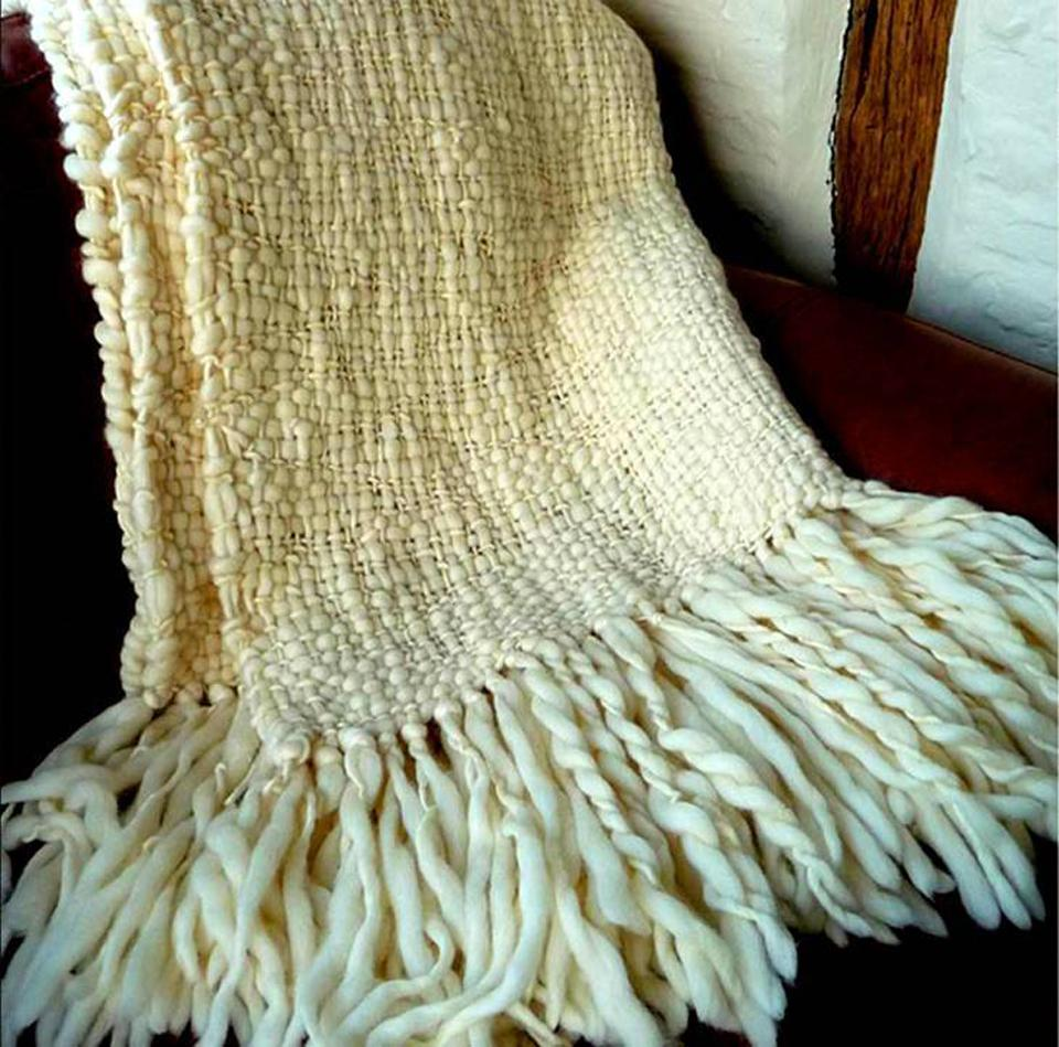 Cable Wool Throw Blanket - Flame Natural Throw | Homelosophy