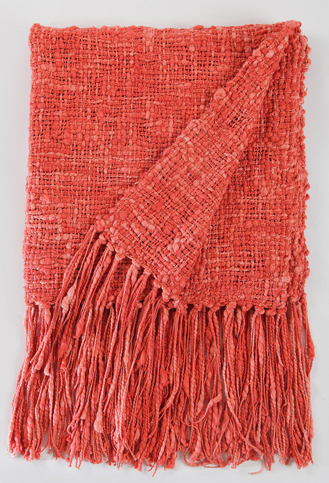 Coral Rustic Cotton Throw Blanket