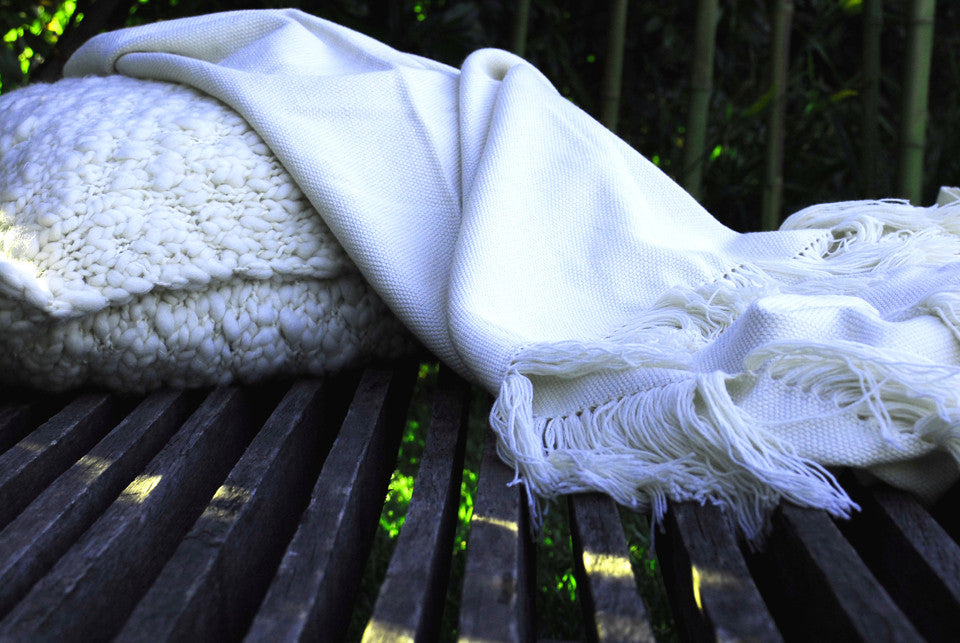 Plain Natural Ivory Luxury Throw